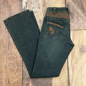 Leather Trimmed Denim Jeans by Harley Davidson